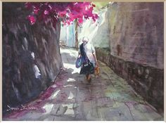 """""""In the Shade of the Calle"""" watercolor by Donna Dickson, San Miguel"""