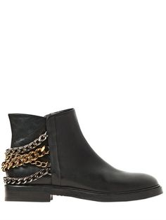 Discover luxury clothing, shoes and accessories from top designers on LUISAVIAROMA. Leather Ankle Boots, Calf Leather, Boots 2014, Luxury Shop, Metal Chain, Black Is Beautiful, Rubber Rain Boots, Calves, Florence