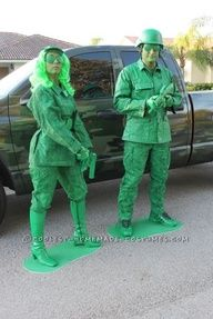 How to make a Green Army Soldier Costume. Cover the shirt and pants and cardboard with duct tape completely. The duct tape gives them the plastic look. Spray paint everything with green spray paint. Duct tape two toilet paper rolls together and spray paint those for the binoculars. Let them try over night and then paint a second coat.