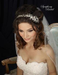 So pretty! Floral Crystal Sprig Wedding Headband Symphony Bridal 7306CR - Affordable Elegance Bridal -