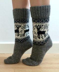 Grey Wool Socks Reindeer Buck Deer Christmas by FirTreeKnitwear