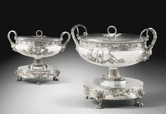 A Pair of Empire Silver Oval Soup Tureens, Covers, Stands and Liners, Henry Auguste, Paris, 1804.