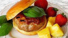 ISLAND PORK BURGERS: Smoky, sweet grilled pork burgers with pineapple, ginger, garlic and basil will put you instantly in vacation vibe. You don't need a plane ticket for this taste of the islands! Burger Mix, Burger Buns, Pork Burgers, Turkey Burgers, Hamburger Ideas, Fresh Bread Crumbs, Grill Island, Delicious Breakfast Recipes, Grilled Pork