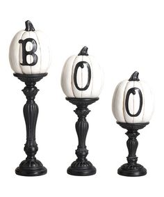 Look what I found on #zulily! 'Boo' Pumpkin Pedestal Accent Set #zulilyfinds