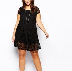 Find the best selection of New Look Inspire Lace Cap Sleeve Swing Dress. Shop today with free delivery and returns (Ts&Cs apply) with ASOS! Curvy Outfits, Dress Outfits, Fashion Outfits, Robe Swing, Swing Dress, Casual Curvy Fashion, Sexy Dresses, Short Sleeve Dresses, Short Sleeves