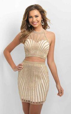 947d7bbaf5 Blush - C362 Two-Piece Haltered Cocktail Dress Gold Prom Dresses