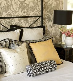 Bedroom-black, white and yellow pillows
