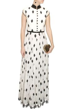 Off white black sequins embellished maxi gown available only at Pernia's Pop-Up Shop.