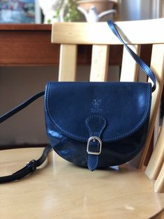 Excited to share this item from my shop: Navy blue leather Vera Pelle purse vintage made in Italy bag Blue Orange, Navy Blue, Beautiful Hands, Saddle Bags, Hand Weaving, Handmade Items, Italy, Purses, Wallets