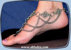Diamond chains barefoot sandal, Chain-mail slave anklet jewelry for bare feet by Chainmail & More