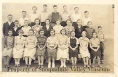 PO.075.1065 - Mr Gus Okerland's North Bend Grade School 8th Grade Class. Front Row: Evelyn Camp, Betty Wright, Jackie Shelton, Norma Wishon, Francis Scott, Ruby (or Ruth?) McNeely, Louise Metzler, Elsie McClain, Cecile Sample Second Row: Bobby Clarke, Bob Crawford, Nina Davis, Lois Berkebile, Maxine Close, Unknown, Unknown, Bill Watruba, Orville Fischer Back Row: Teacher Gus Okerlund, Joe Slencik, Paul Haglund, Bennett (or Kenneth) Murphy, Bob Vinnedge, Henry Parson, Robert (or Allen) Young…