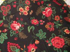Vintage Fabric Joan Kessler Floral Design Red Roses on Black 3 Yards Concord USA #ConcordFabrics