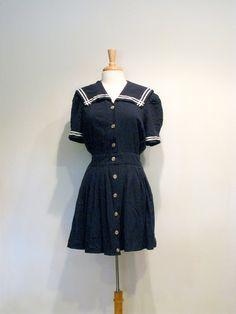 Vintage Navy Blue Nautical Sailor Style Mini Dress