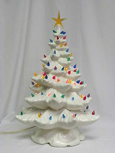 vintage white mid century atlantic mold ceramic christmas tree light up lamp usa