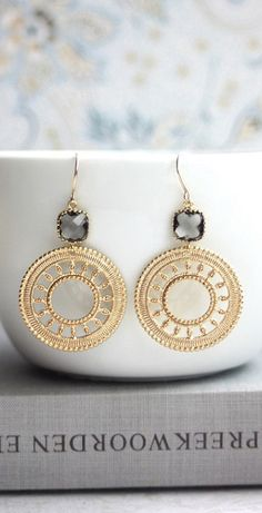 Gold Round Filigree with Gray Black Diamond Glass Drops, Gold Plated Lace Moroccan Earrings | Marolsha.