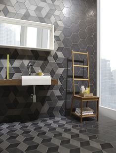dramatic tiles for bathroom - love that it's on both floor and walls