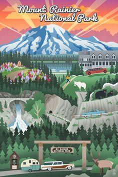 Mount Rainier National Park - Retro View - Lantern Press Poster