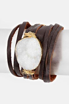 Leather Kai Bracelet in Snow Quartz | Women's Clothes, Casual Dresses, Fashion Earrings & Accessories | Emma Stine Limited