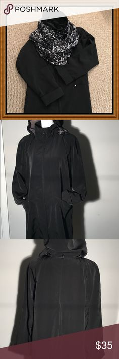 Black Trench Coat, Raincoat w/removable hood M/L Black Raincoat/Trenchcoat. Lined, removable hood, full front zipper up to a funnel neck, washable, hidden inside pocket, 2 outside pockets, swing back. EUC! Warm enough to finish the winter and start the spring. Great travel coat, doesn't wrinkle. Came w/very heavy, bulky, high maintenance x-tra lining which I did not keep as I didn't feel it was needed. Loved this coat but happily I lost weight and now need a smaller size. This is not a tight…