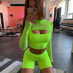 Auyiufar Neon Shorts Tracksuit Two Pieces Set Women Club Outfits Pink Crop Tops and Biker Shorts Casual 2 Piece Matching Sets Neon Rave Outfits, Ibiza Outfits, Club Outfits, Swag Outfits, Mode Outfits, Fashion Outfits, Womens Fashion, Music Festival Outfits, Festival Fashion