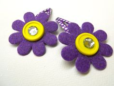 Purple & Yellow Children's Hair Barrette Set by FritzieFroodles, $6.00