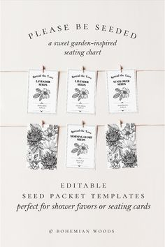 Seed Packet Templates perfect for bridal shower favors or a unique wedding seeding chart | Garden Bridal Shower or Wedding | Favors or Seating Chart Cards Garden Bridal Showers, Summer Bridal Showers, Diy Wedding Favors, Bridal Shower Favors, Seed Packet Template, Lavender Seeds, Seating Cards, Seed Packets, Unique Weddings