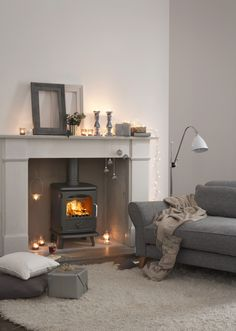 Living Room Ideas Log Burners stylish and comfortable lounge with log burner and lcd tv | living