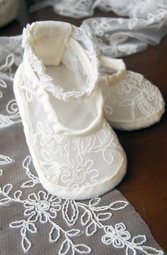 Dainty lace flower white baby shoes - MADE TO ORDER for special occasions
