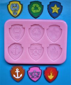 Paw Patrol Inspired Plaques Silicone Mould For Cake Toppers, Chocolate, Clay Etc