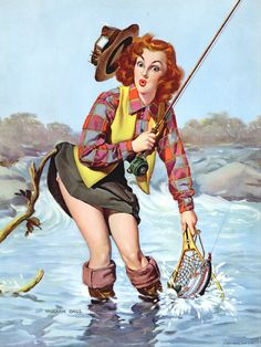 "Vaughan Bass - redheaded pin up girl ""gone fishin'"""
