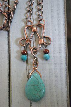 Copper Necklace Turquoise Semi Precious Teardrop Pendant Tube Beads on Dark Copper Chain