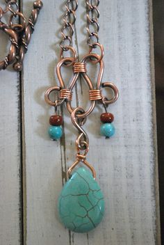 Copper Necklace Turquoise Semi Precious Teardrop Pendant Tube Beads on Dark Copper Chain