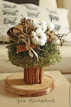 Зимний букетик с хлопком - бежевый,зимний букет,хлопок,Новый Год,рождество
