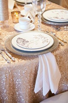 Sequined wedding, champagne wedding decor, champagne table design, christmas table A La Fete Tradition: The Annual Christmas Tea » Ooh LaLa La Fete