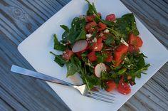 Thai Watermelon Salad: A salad with watermelon, feta, cilantro, radishes, and chiles