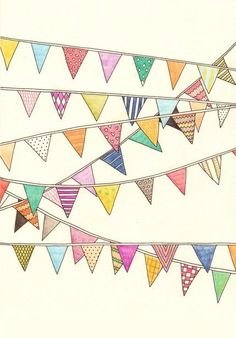 Bunting and garland love / children book illustration fawn - Google Images