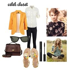 Celeb Closet Taylor Swift by giubagnols on Polyvore featuring polyvore, fashion, style, Denim & Supply by Ralph Lauren, THVM, Radà, Coach, shu uemura, Beautiful People, Ray-Ban and clothing