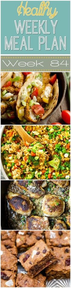 Make your life easier AND healthier with this family friendly Healthy Meal Plan! It has a weeks worth of healthy recipes that you & the kids will love! Recipes for breakfast, lunch, and dinner with a few snacks and desserts snuck in! Pcos Meal Plan, Healthy Weekly Meal Plan, Healthy Menu, Diet Meal Plans, Easy Healthy Recipes, Meal Prep, Easy Meals, Healthy Eating, Weekly Menu