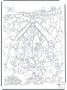 Nativity scene coloring pages, Nativity scene coloring book ...