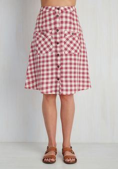 Swap Meet Sweetheart Skirt in Berry Gingham. Equipped with a sharp eye and fast reflexes, youre ready to scour the market for vintage treasures in this cotton midi skirt from Mata Traders! #red #modcloth