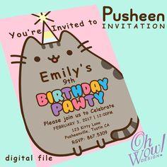 Pusheen Cat Theme Party Invitation by OhWowDesign on Etsy 12th Birthday, Unicorn Birthday Parties, Birthday Party Themes, Birthday Invitations, Birthday Ideas, Birthday Board, Baby Birthday, Lila Party, Cat Party