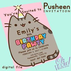 Pusheen Cat Theme Party Invitation by OhWowDesign on Etsy