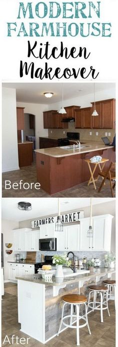 Kitchen Remodel On A Budget Modern Farmhouse Kitchen Makeover Reveal. A dark and boring kitchen gets a budget-friendly makeover with modern farmhouse style using doable DIY projects. Farmhouse Kitchen Diy, Modern Farmhouse Kitchens, Kitchen On A Budget, Home Decor Kitchen, Diy Kitchen, Home Kitchens, Diy Home Decor, Kitchen Ideas, Kitchen Cabinets