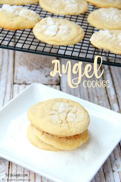 Angel Cookies - soft and chewy vanilla cookies with a delicious sugar glaze that looks just like glistening snow