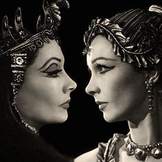 "Vivien Leigh as the two Cleopatras, 1951  ""In the exacting roles of Shaw's young Cleopatra and Shakespeare's tragic queen, Vivien Leigh has scored the biggest triumph of her career. It is no easy task to present effectively the development from superstitious girl to magnetic woman, but this Miss Leigh achieves without a single flaw."" (Theatre World)"