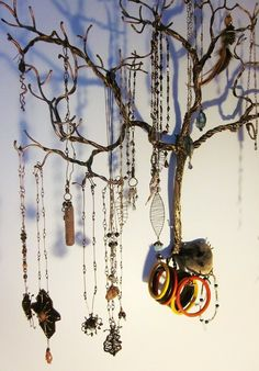 solid copper wire weeping willow jewelry tree, handmade by my grandfather for me to hang/display my handmade jewelry from