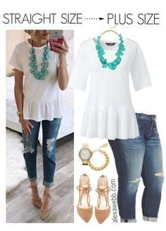 Straight Size to Plus Size - Summer Outfit - Alexa Webb - plus size fashion for women - Preppy Summer Outfits, Summer Outfits Women Over 40, Plus Size Summer Outfit, Fashion For Women Over 40, Summer Dress Outfits, Plus Size Outfits, Plus Size Summer Fashion, Summer Clothes, Outfits For Women