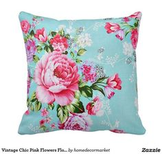 Vintage Chic Pink Flowers Floral Decorative Pillow ❤ liked on Polyvore featuring home, home decor, throw pillows, vintage throw pillows, floral throw pillows, pink accent pillows, pink throw pillows and flower throw pillow