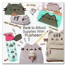 """""""Back to School Supplies With Pusheen #PVxPusheen"""" by kellylynne68 ❤ liked on Polyvore featuring interior, interiors, interior design, home, home decor, interior decorating, Pusheen, Gund and Old Navy"""