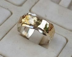 Silver And Gold Wedding Ring,Handmade Wedding Band ,Hammered Wedding Ring ,Bridal Unique Ring Gold Statement Ring, Summer Sale Gold Wedding Rings, Wedding Ring Bands, Silver Rings, Gold Jewellery Design, Gold Jewelry, Kimberly Brown, Unique Rings, Unique Jewelry, Valentine Gifts